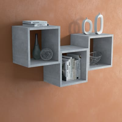 Mensola a cubo L 25 x H 30 cm, Sp 18 mm grigio