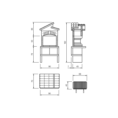 Barbecue in marmo Cordoba modulo cucina L 90 x P 70 x H 193 cm