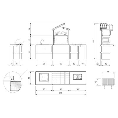 Cucina da esterno in marmo PALAZZETTI L 270 x P 70 x H 193 cm