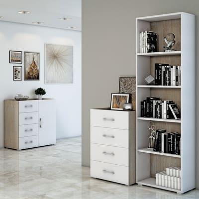 Set cassetti L 90 x H 87 x P 41 cm bianco/rovere