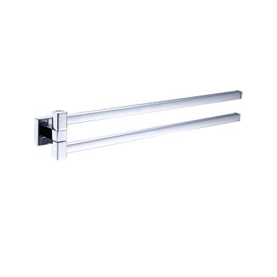 Porta salviette con snodo a muro 2 barre grigio cromato L 38.6 cm