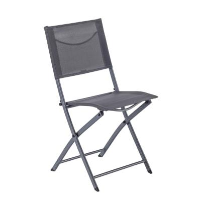 Sedia da giardino senza cuscino pieghevole in acciaio Emys NATERIAL colore antracite