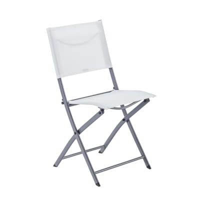 Sedia da giardino senza cuscino pieghevole in acciaio Emys NATERIAL colore bianco