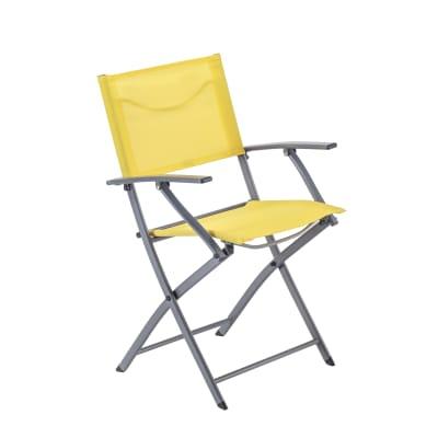 Sedia con braccioli senza cuscino pieghevole in acciaio Emys NATERIAL colore giallo