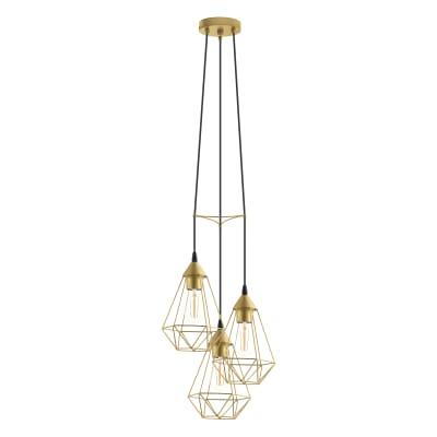 Lampadario Design Byron dorato in metallo, D. 35.5 cm, L. 130 cm, 3 luci, INSPIRE