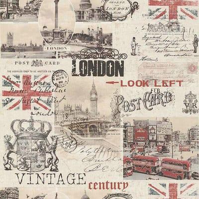 Carta da parati London rosso/beige