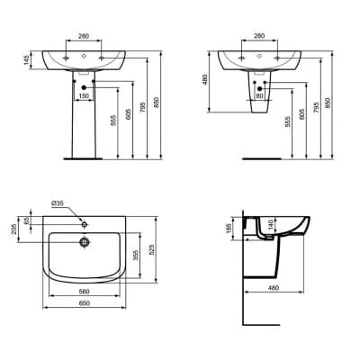 Colonna per lavabo suite H 70 cm in ceramica bianco