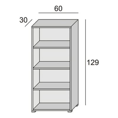 Scaffale in kit 4 ripiani L 60 x P 30 x H 130 cm