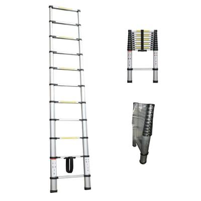 Scala telescopica Estensibile B in alluminio 10 gradini per lavori fino a 3.2 m
