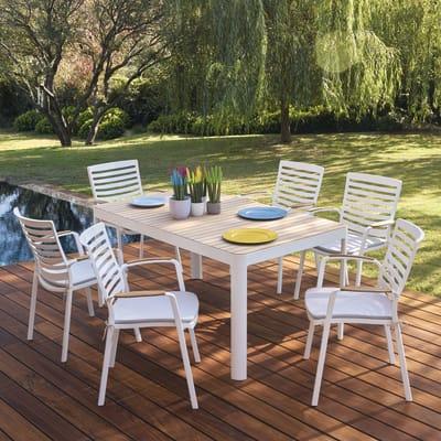 Set tavolo e sedie Portals in alluminio bianco 6 posti