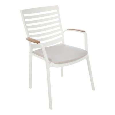 Sedia da giardino con cuscino  in alluminio Portals colore bianco