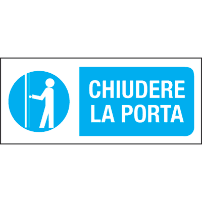 Cartello segnaletico Chiudere la porta pvc 31 x 14 cm