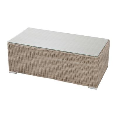 Tavolino da giardino rettangolare Costarica NATERIAL con piano in vetro L 60 x P 112 cm