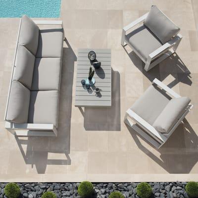 Divano NATERIAL Las Vegas in alluminio colore bianco 3 posti