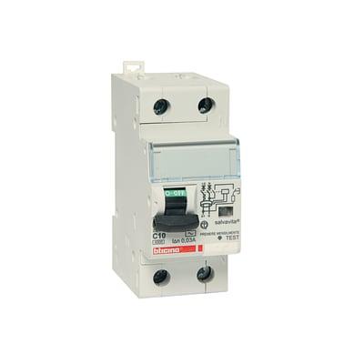 Interruttore magnetotermico differenziale BTICINO GC8813AC10 1 polo 10A 4.5kA 2 moduli 230V