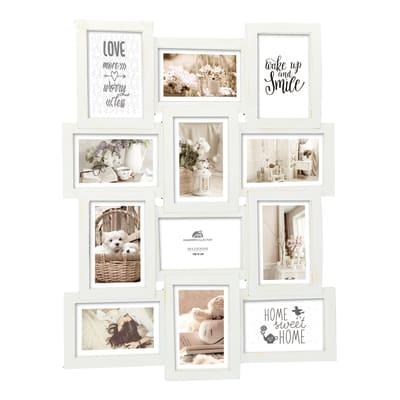 Cornice Shabby per 12 fotografie 10 x 15  bianco