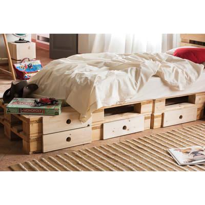 Pallet con cassetti in legno grezzo 120 x 80 cm