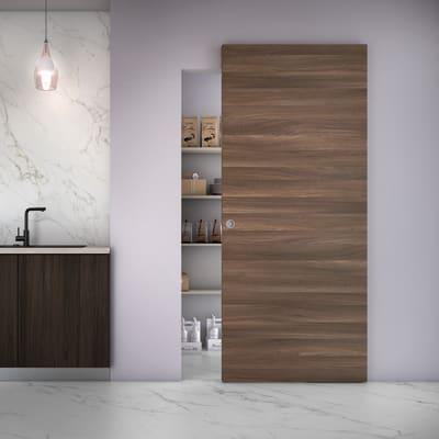 Porta scorrevole con binario esterno Space Cacao Tda in legno laminato Binario nascosto L 101 x H 230 cm dx