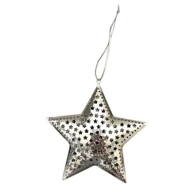 Stella da appendere in metallo argento decorataØ 12.5 cm