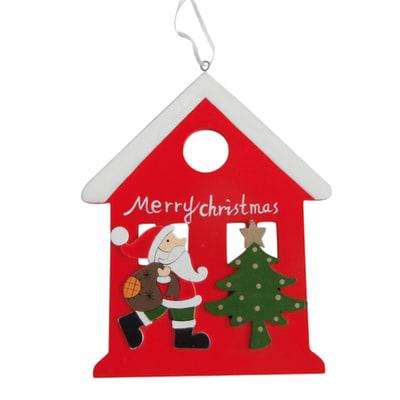 Decorazione da appendere Babbo Natale in legno H 23 cm, L 19 cm  x P 0.5 cm
