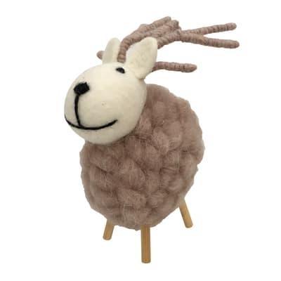 Renna in lana grigia , L 10 cm x P 9.5 cm