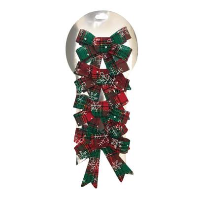 Decorazione per albero di natale Set 4 fiocchi in tessuto rossi e verdi , L 9 cm