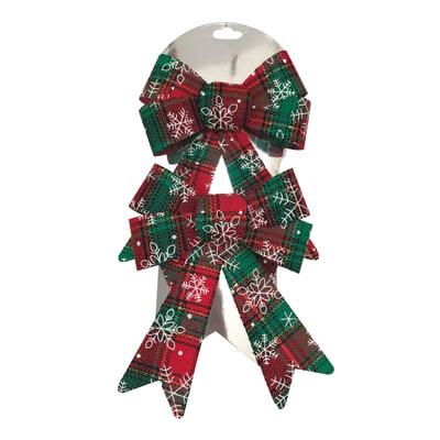 Decorazione per albero di natale Set 2 fiocchi in tessuto decorati in rosso e verde H 16 cm, L 13 cm confezione da 2 pezzi