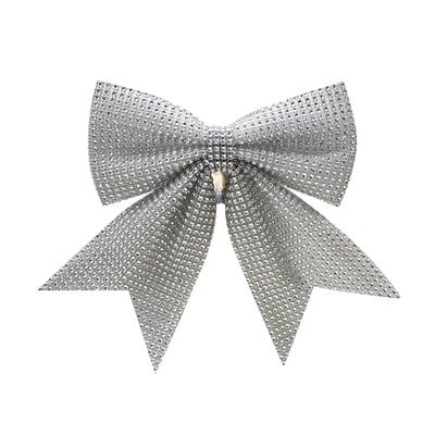 Fiocco Tradizionale in tessuto argento H 15 cm, L 15 cm