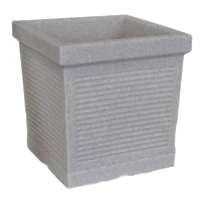 Vaso Quadro Millerighe in plastica colore grigio H 45 cm, L 45 x P 40.1 cm