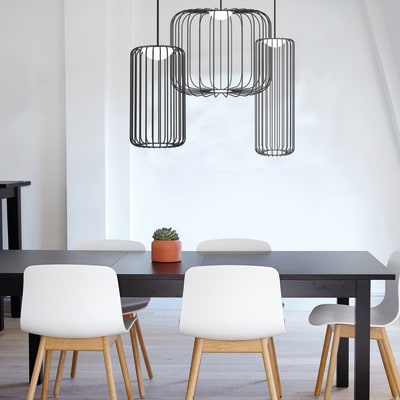 Lampadario Design Cage nero, in metallo, D. 35 cm, LUMICOM