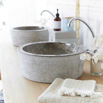 Lavabo da appoggio Rotondo Exo stri  in marmo Ø 40 x H 15 cm grigio antracite