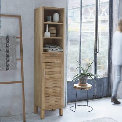Colonna Soho 1 cassetto 1 anta L 40 x P 35 x H 180 cm marrone legno ed effetto legno TIKAMOON
