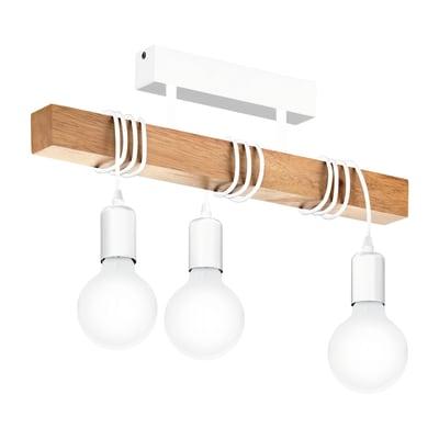 Lampadario Scandinavo Townshend bianco/legno in legno, 3 luci, EGLO