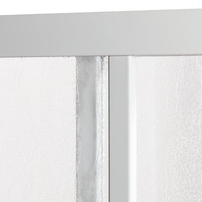 Box doccia quadrato 80 x 70 cm, H 185 cm in acrilico, spessore 2 mm trasparente bianco