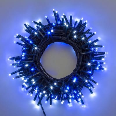 Catena luminosa 180 lampadine LED bianco e blu 400 cm