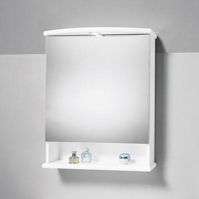 Specchio contenitore con luce Katia L 62 x P 23 x H 77 cm bianco lucido laccato