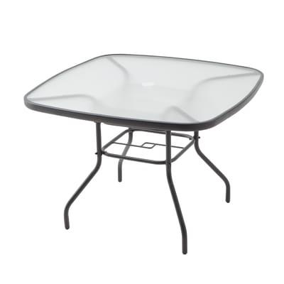 Tavolo da pranzo per giardino quadrato New Veracruz con piano in vetro temperato L 102 x P 102 cm