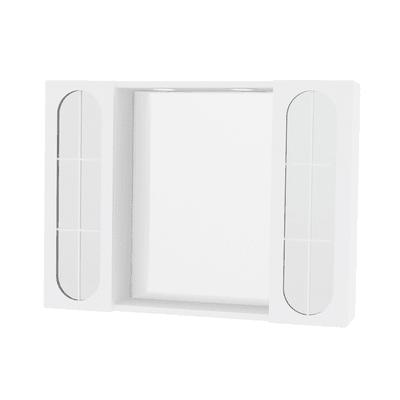 Specchio contenitore con luce Classica L 77 x P 15.5 x H 57 cm bianco lucido laccato