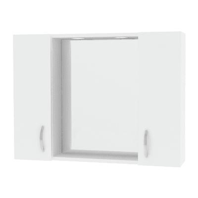 Specchio contenitore con luce Sole L 77 x P 15.5 x H 57 cm bianco lucido laccato