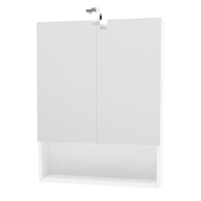 Specchio contenitore con luce Cube L 62 x P 15.5 x H 81 cm bianco lucido laccato