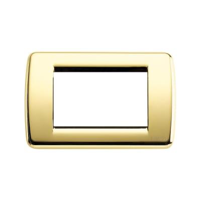 Placca VIMAR Idea Rondò 3 moduli oro lucido