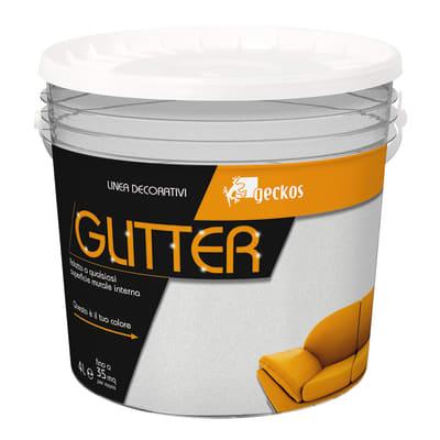 Pittura decorativa GECKOS Glitter 4 l bianco effetto paillette