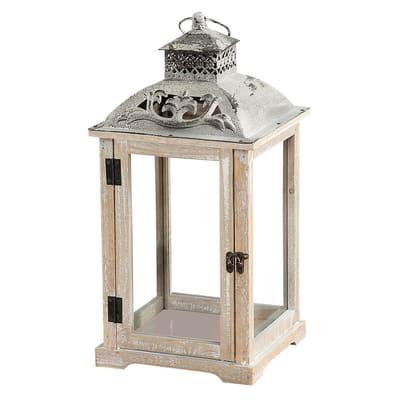 Lanterna portacandela in legno bianco H 45 cm,L 23 cm Ø 23 cm