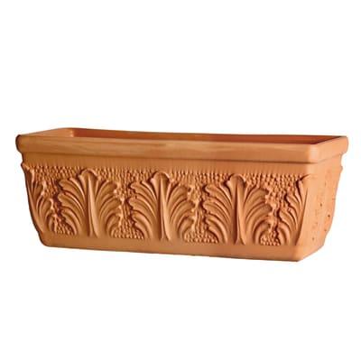 Fioriera Roma in terracotta colore cotto H 25 cm, L 62 x P 25 cm Ø 60 cm