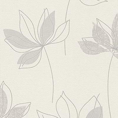 Carta da parati Fiore grigio