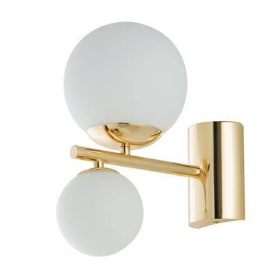 Applique glamour Hera bianco e oro, in vetro, 2 luci