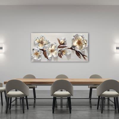 Dipinto originale Fiori metallici 65x150 cm