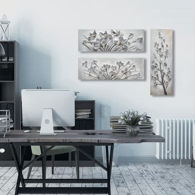 Quadro dipinto a mano Fiori 30x90 cm