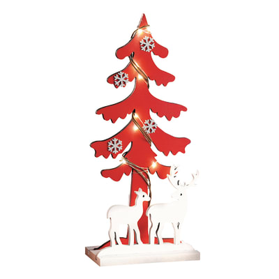 Albero di Natale da appoggio con 9 Led in legno H 38.5 cm