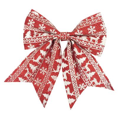 Fiocco in tessuto rosso con decori bianchi , L 20 cm x P 0.8 cm